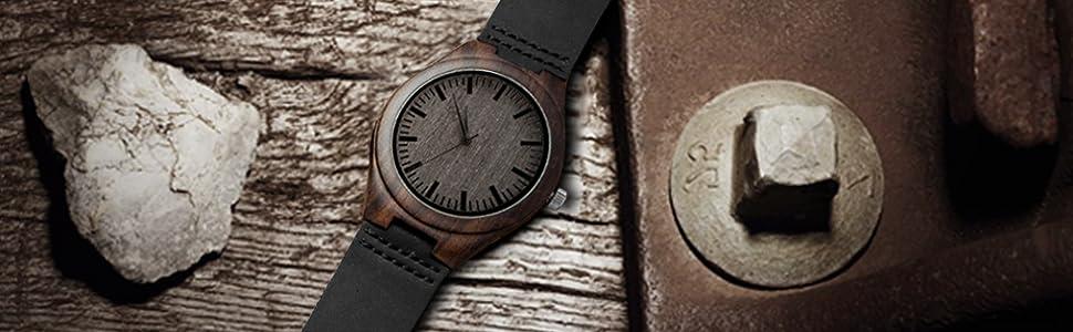 Genuine Leather  watch  custom watch   wood watch   black watch, engraved wood watch  man watch