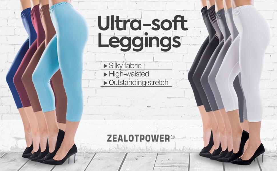 31e19696f0d39 ZEALOTPOWER Capri Leggings for Women Plus Size Ultra Soft High Waist ...