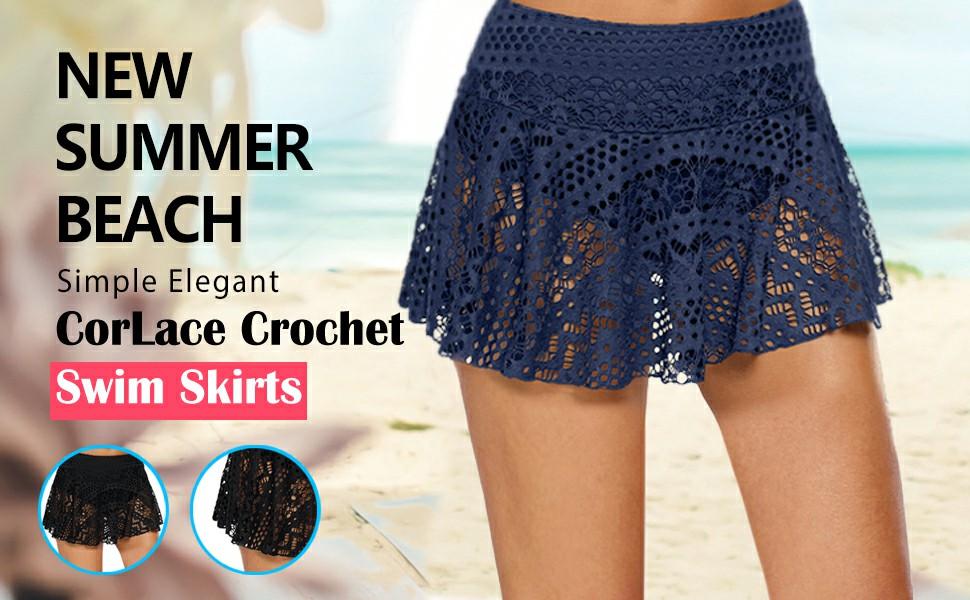 Women's Lace Crochet Skirted Bikini Bottom Swimsuit Short Skirt Swimdress