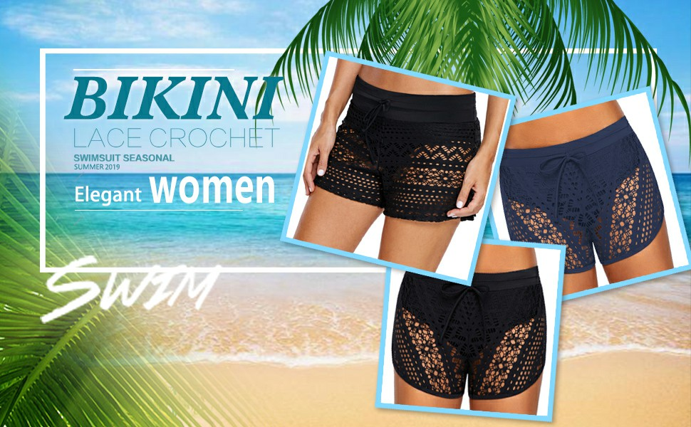 Womens Swim Skirt Lace Crochet Skort Bikini Bottom