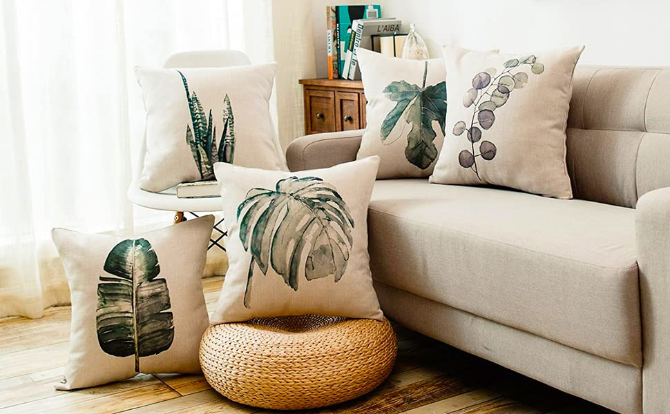 green plant throw pillow covers