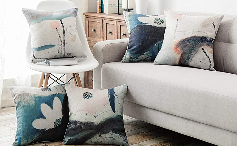 cotton linen throw pillow covers set