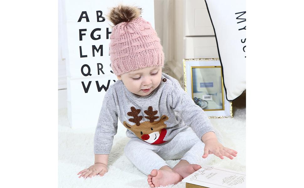 b9db09e53 oenbopo Winter Warm Knit Baby Hat Infant Toddler Kids Child Pom Pom Beanie  Cap Unisex Hats for Baby Boys Girls