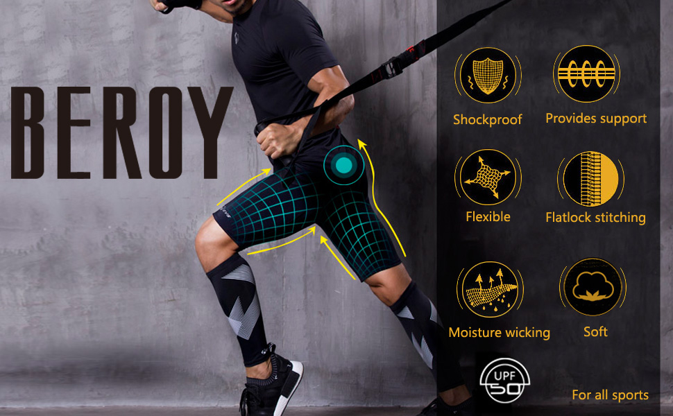 beroy Mens Compression Shorts Training Athletics Workout Tight Sports Base Layer with One Pocket