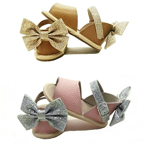 SALE ON SANDALS Infant and Toddler Soft or Rubber Sole Bella Simone Girls Leather Pink /& Silver Glitter Sandals with Bow