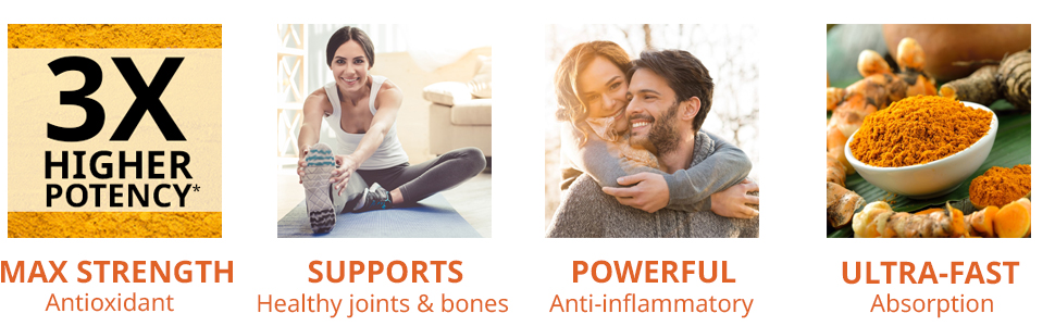 Extra strength turmeric and ginger capsules for healthy joint support and absorption boost banner