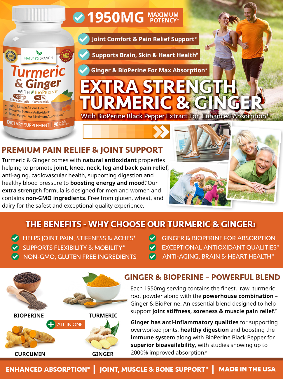 Turmeric and ginger capsules supplement with black pepper and curcumin joint vitamins infographic