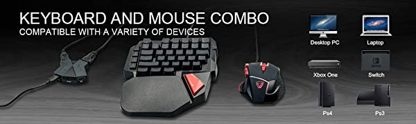 PS4 PS3 XBOX SWITCH keyboard and mouse combo
