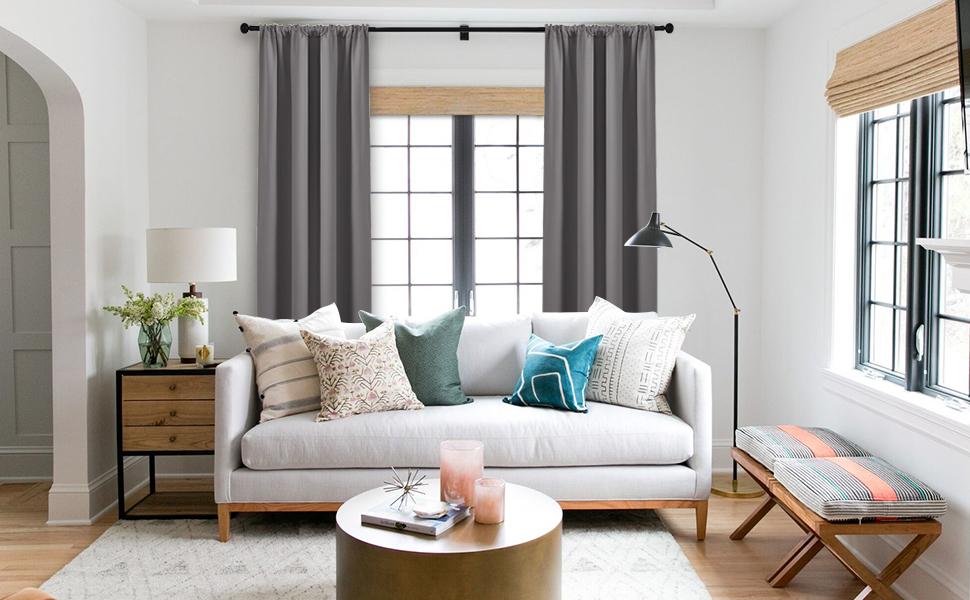 amazon com pony dance grey blackout curtains rod pocket drapespony dance rod pocket blackout curtains for home decor
