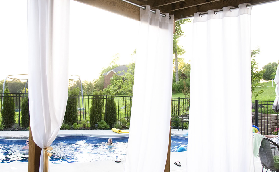 Charmant PRAVIVE Outdoor Sheer Curtains 84   Waterproof Grommet Indoor Outdoor  Curtains Patio Privacy White Sheer Drapes Blinds ...