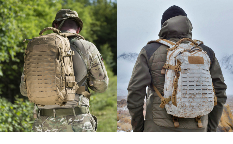 Dragon Egg backpack in 2 action scenarios. Colors Coyote Brown and PenCott SnowDrift