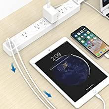 6 outlet surge protector power strip flat plug