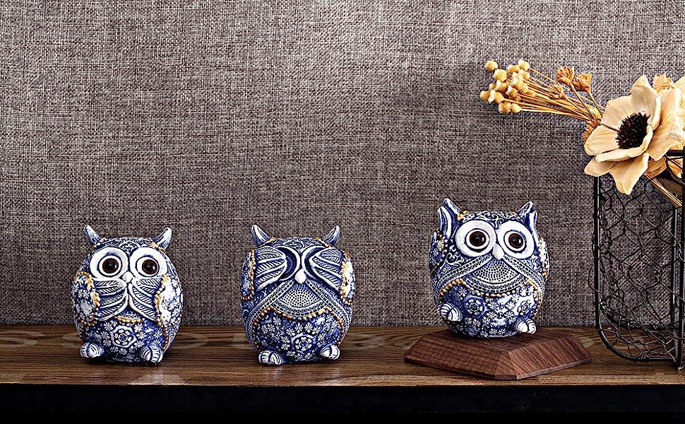 blue owl figurine for decor