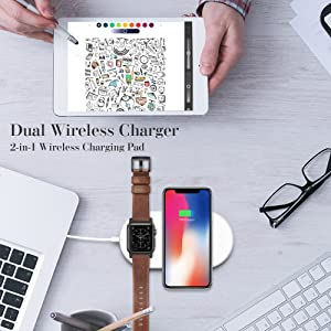 Dual Wireless Fast Charger, 2 in 1 Wireless Charging Pad Induction Charger Base for (i) Watch Series 4321 & (i) Phone XS Max (iPhone 8 Plus Galaxy
