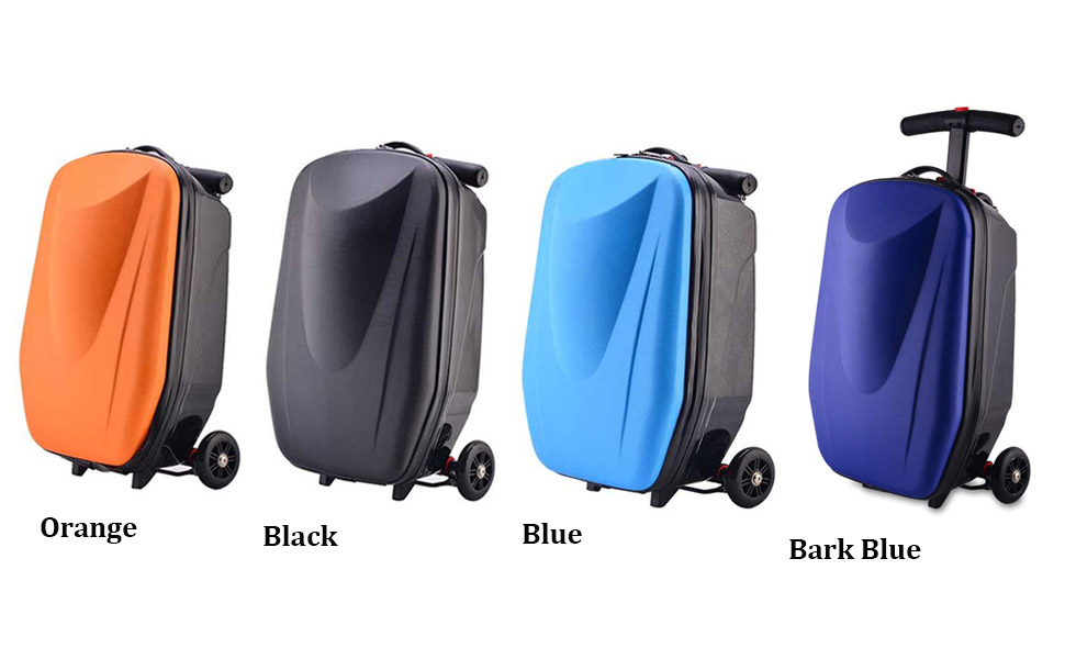NOPTEG 20 inch Scooter Suitcase Ride-on Travel Trolley Luggage for Travel, School and Business (Blue)