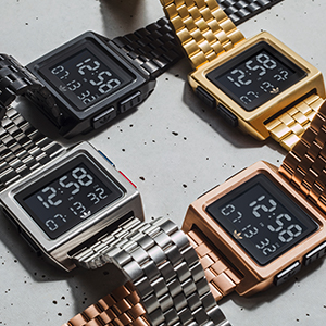 adidas Archive M1 digital watch in gold copper black and silver