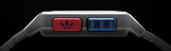 adidas Archive M1 watch black with red and blue buttons side view