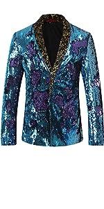 Men's Sport Coat Slim Shawl Collar None Button Sequins Dance Party Blazer Jacket