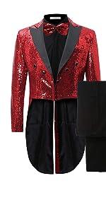 Mens 2 Piece Tuxedo Classic Dress Suit Dinner Red Blazer Jacket Black Pants
