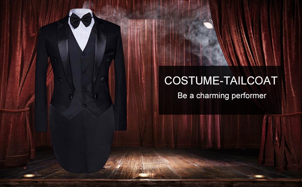 tailcoat dress 3 piece suit coat swallow-tailed tuxedo suit blazer suit vest pants white tuxedo