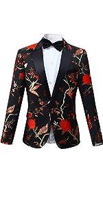 Mens 2 Piece Floral Dress Suit One Button Dinner Tuxedo Jacket & Pants