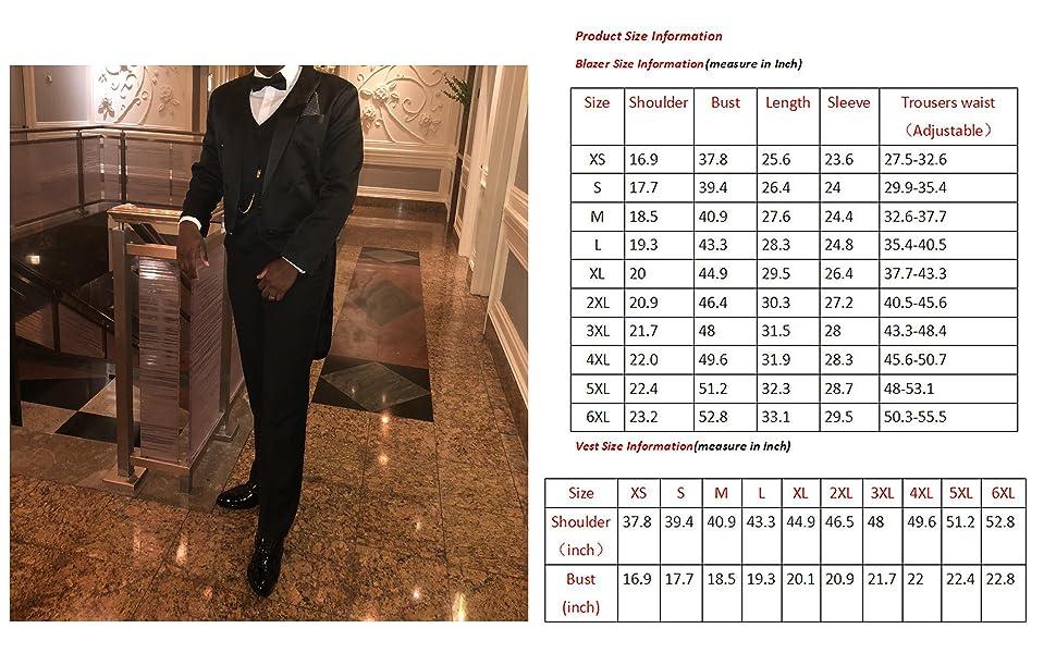Men's Tailcoat Formal Slim Fit 3-Piece Suit Dinner Jacket Swallow-Tailed Coat
