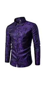 Mens Paisley Shirt Long Sleeve Dress Shirt Button Down Casual Slim Fit