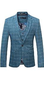 Men's Suit Plaid Modern Fit 3-Piece Suit Center Vent Blazer Jacket Tux Vest