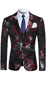 Men's 3-Piece Suit Notched Lapel Floral One Button Modern Blazer Vest Pants Sets