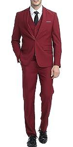 Mens 3-Piece Suit Notched Lapel One Button Slim Fit Formal Jacket Vest Pants