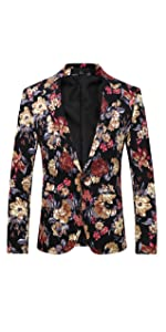 Mens 2 Piece Suit Notched Lapel Sport Coat Floral One Button Slim Fit Tweed Suit