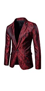 Mens Slim Fit Paisley Suit Single Breasted Party Suit Jacket 1 Button Sport Coat