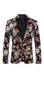 Mens 2 Piece Suit Notched Lapel Sport Coat Floral One Button Slim Fit Tweed Suit