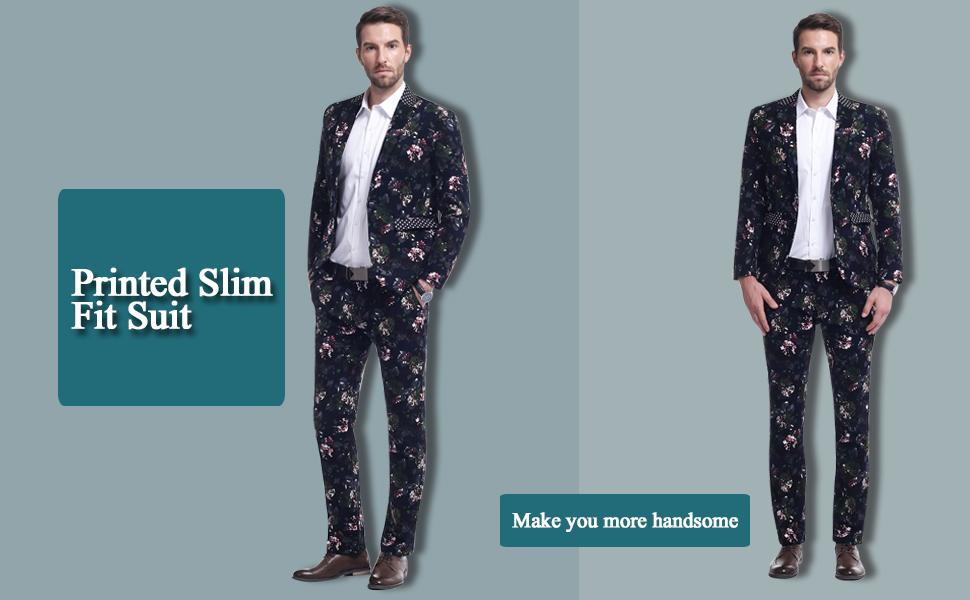 Mens 2 Piece Suit Notched Lapel Floral 1 Button Slim Fit