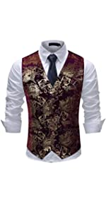 Mens Vest Dress Vest Slim Fit Button Down Prom Formal Suit Vest Waistcoat