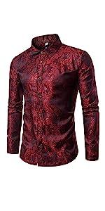Mens Paisley Shirt Long Sleeve Dress Shirt Button Down Casual Slim Fit