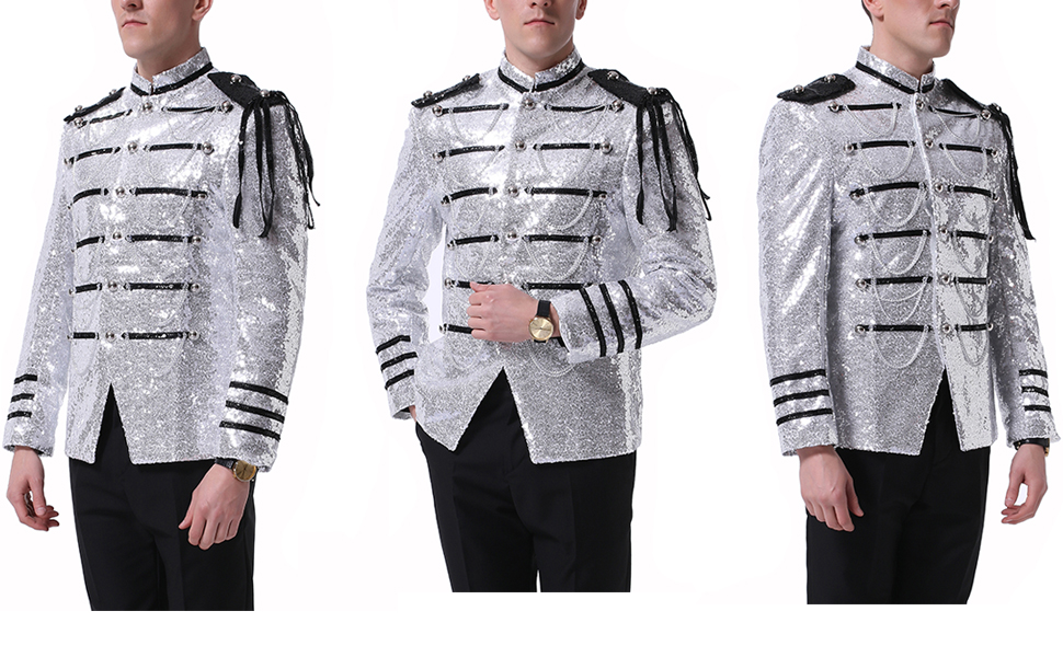 Mens 2-Piece Suit Fashion Sequin Party Prom Dinner Blazer