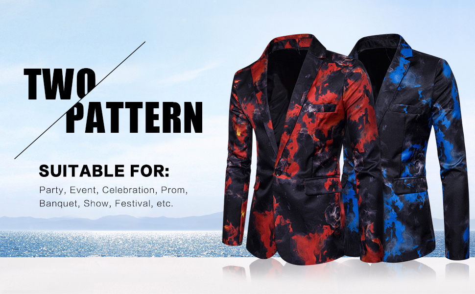 Mens Suit Jacket Slim Fit Printed One Button Floral Casual Blazer Sports Coat