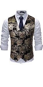Mens Vest Dress Vest Slim Fit Button Down Prom Formal Suit Vest Waistcoat