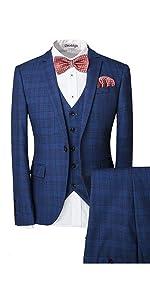Men's One-Button Designer Luxurious Suits Plaid Tuxedos 3-Piece Set