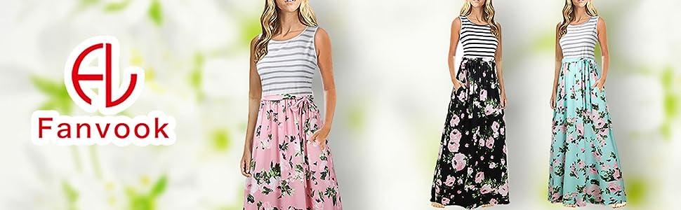floral dress women dress summer dress long Maxi dress flower dress long tank dress with pockets