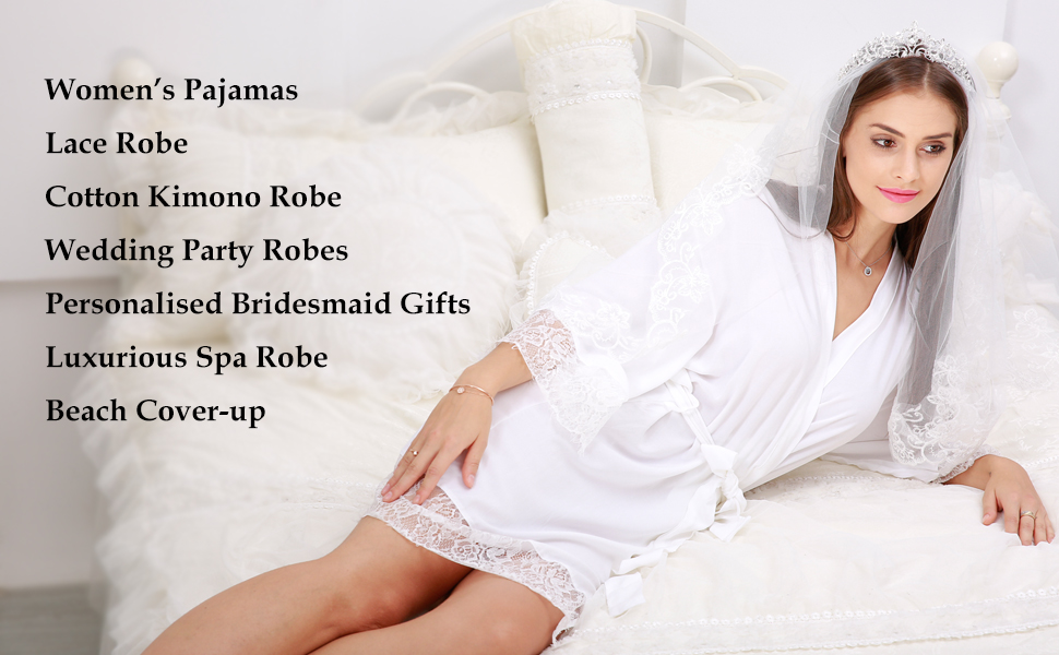 Nursing silk bride bridesmaids satin kimono long robes plush spa sexy lace soft organic cotton lacy