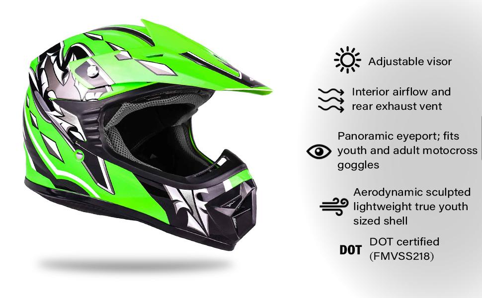 kids green motocross atv helmet