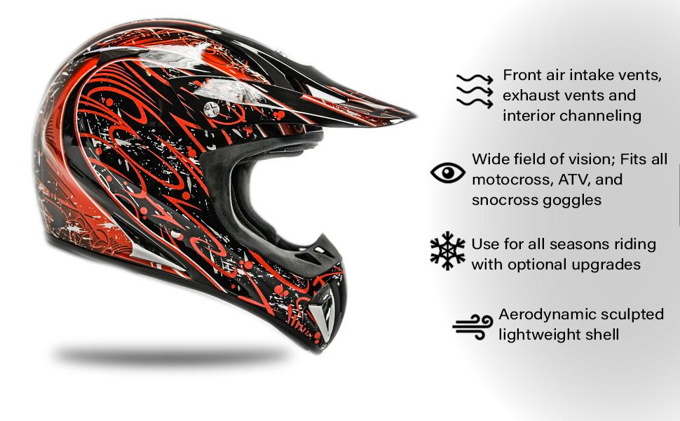 dirt bike helmet motocross atv off road features