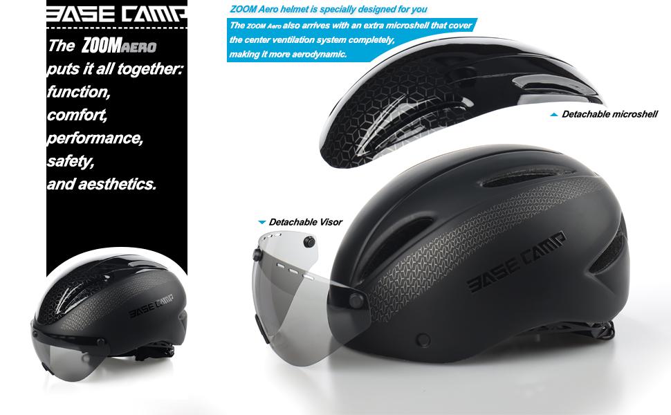 BASE CAMP Zoom//Zoom Aero Road Bike Helmet with Removable Visor