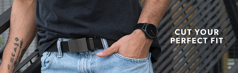 10cbc8d01ad Amazon.com  SlideBelts Men s Vegan Leather Belt without Holes ...