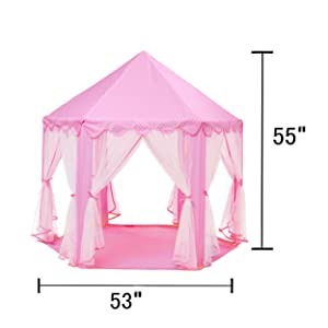 TENT SIZE  sc 1 st  Amazon.com & Amazon.com: Intency Pink Princess Castle Kids Play Tent Large ...