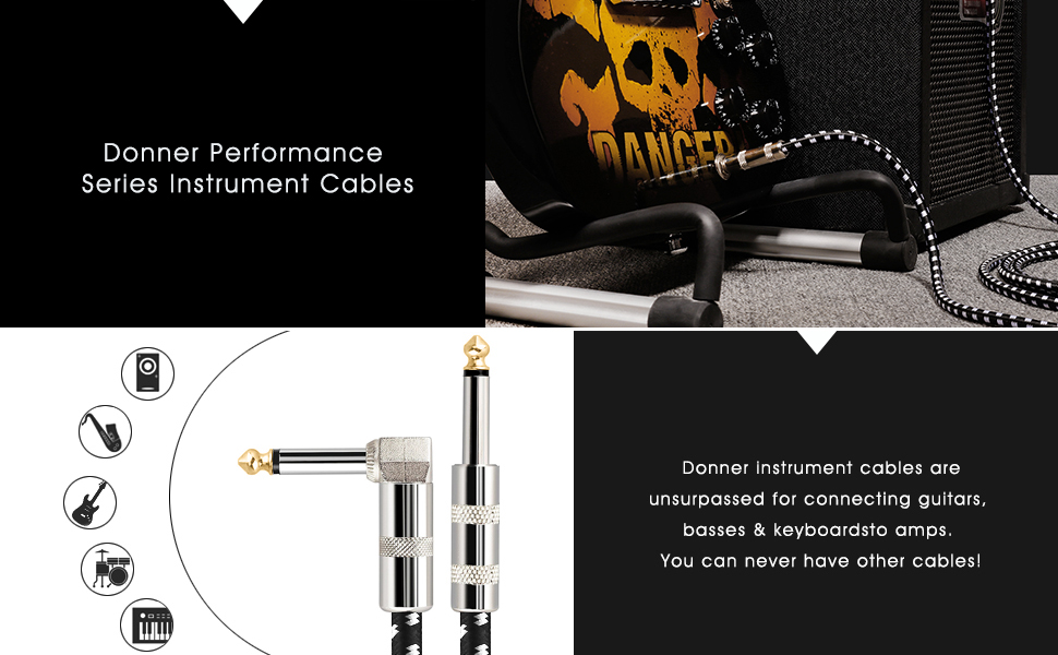 Donner Guitar Cable 18 ft, Premium Electric Instrument Bass Cable AMP Cord 1/4 Right Angle to Straight Black White