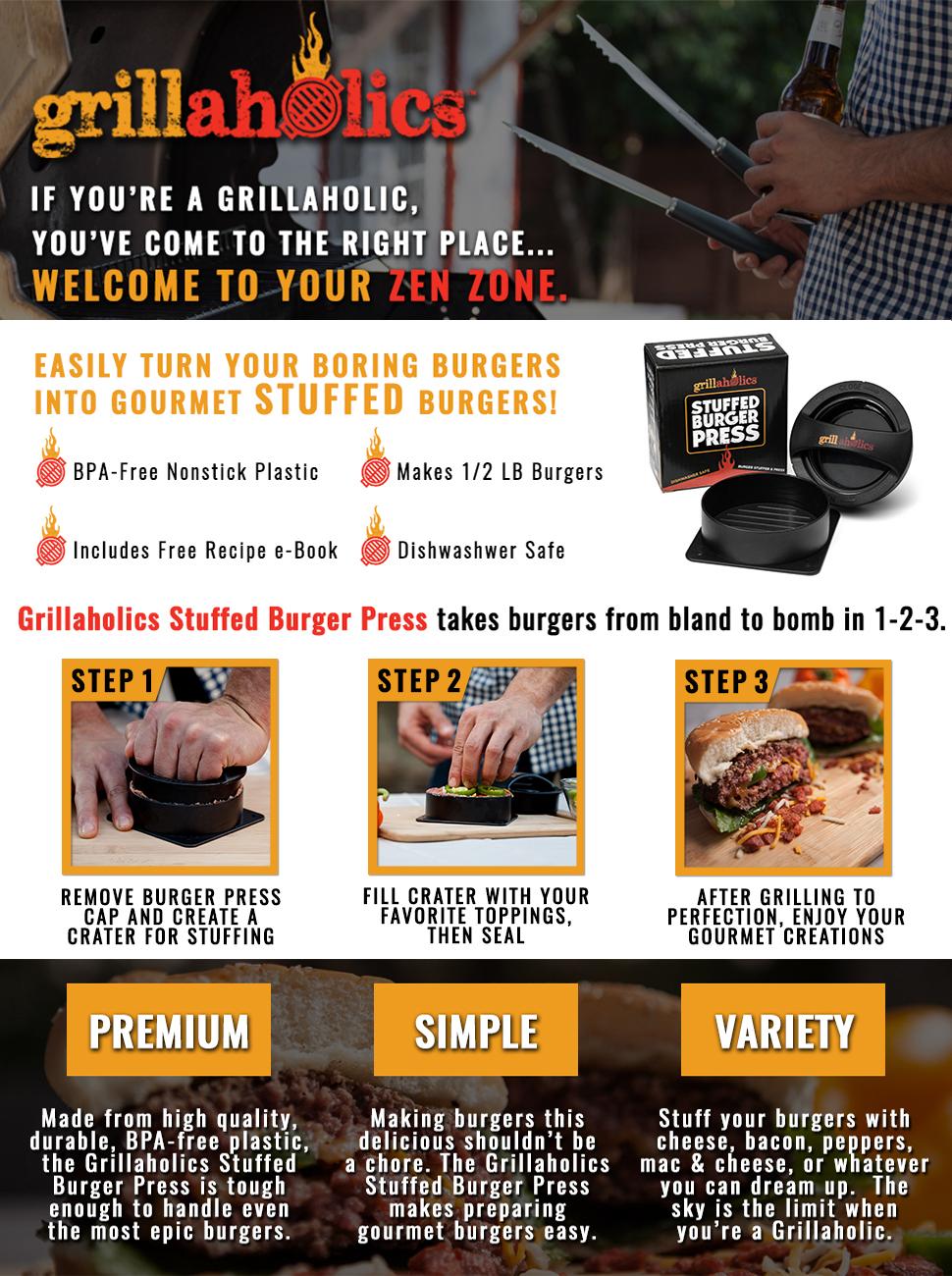 Amazon.com: Grillaholics Stuffed Burger Press and Recipe ...