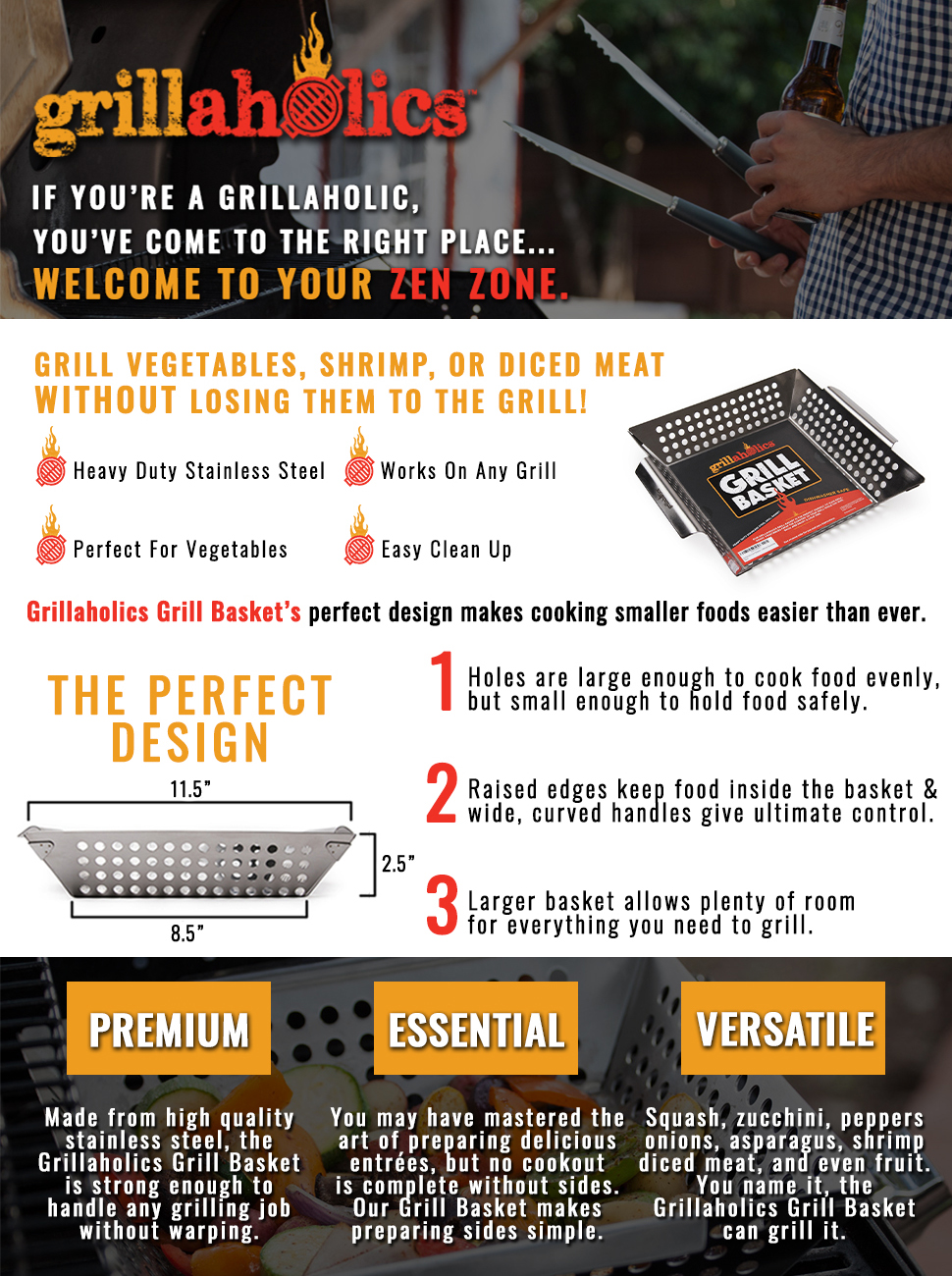 amazon com grillaholics grill basket best in barbecue grilling